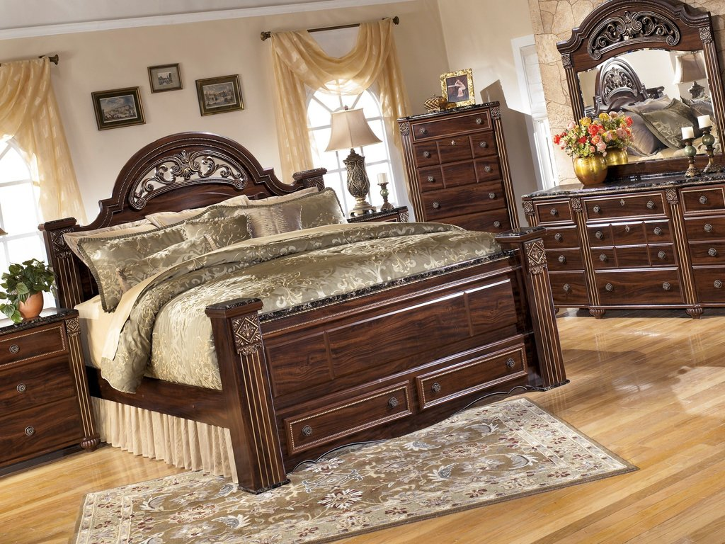 Gabriela Dark Reddish Brown B347 4 Pc King Bedroom Set How Make Rolling File Cabinet
