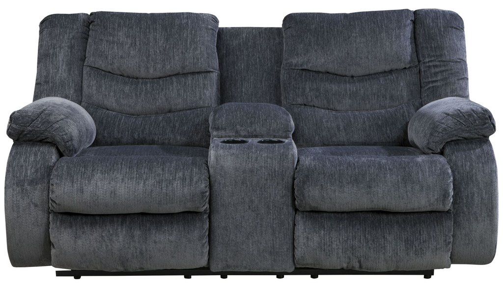 Garek Blue Double Reclining Loveseat Console Fabric Cover A Double Recliner Sofa
