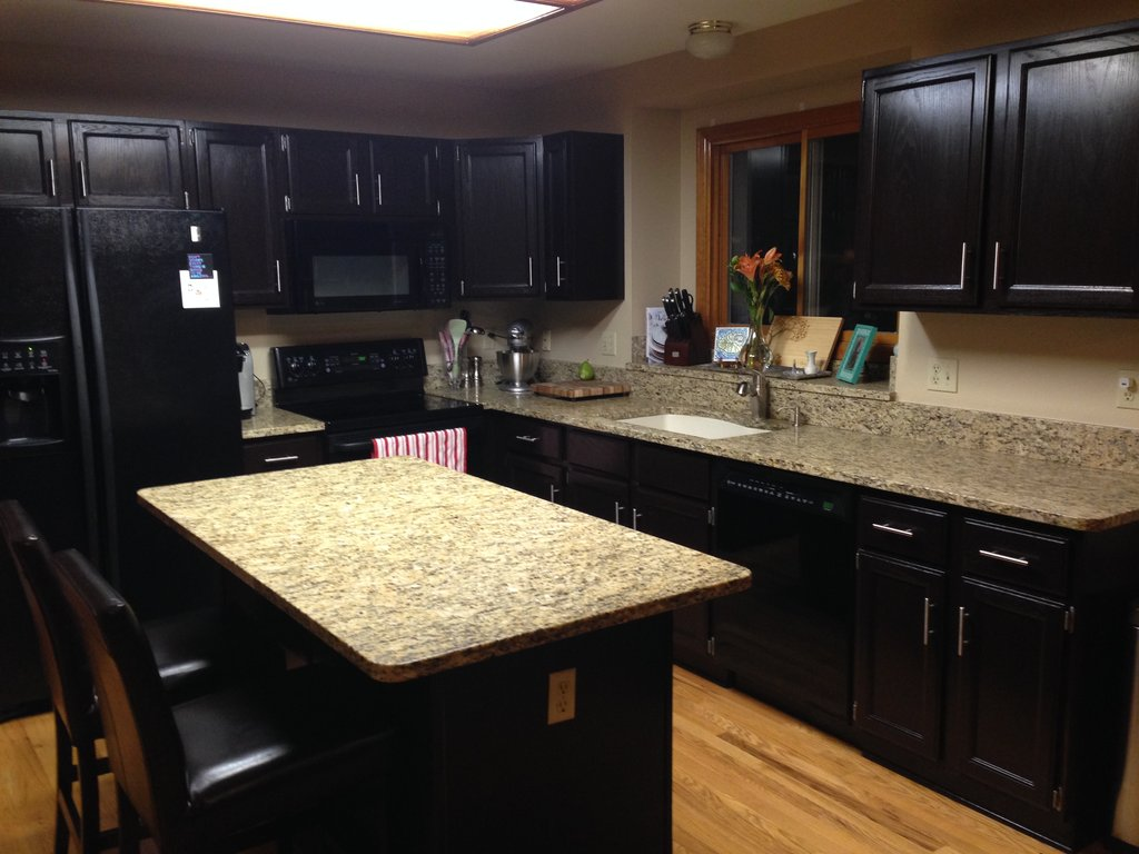 Gel Stained Cabinets Goodbye Honey Oak Gold Confetti Staining Kitchen Cabinets Ideas