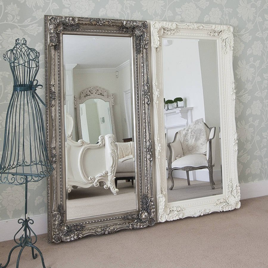 Grand Cream Full Length Dressing Mirror Decorative With Full Length Wall Mirror Storage