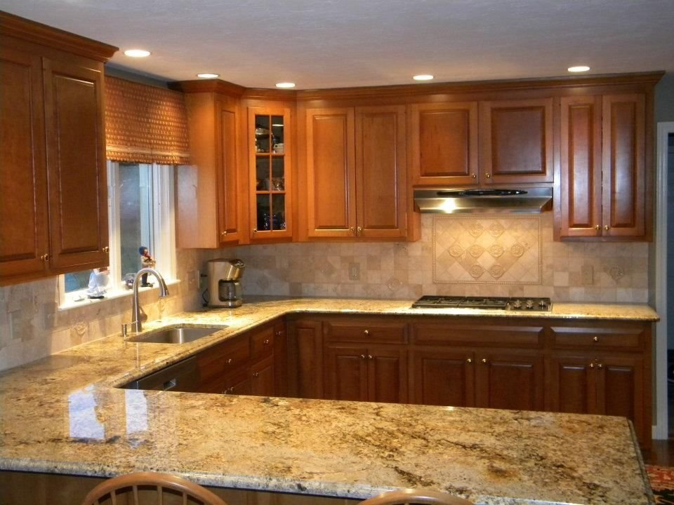 Granite Backsplash Combination Namibian Gold Knotty Pine Cabinets
