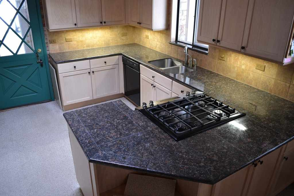 Granite Tile Kitchen Countertop Install Granite Black Galaxy Granite Tile Backsplash