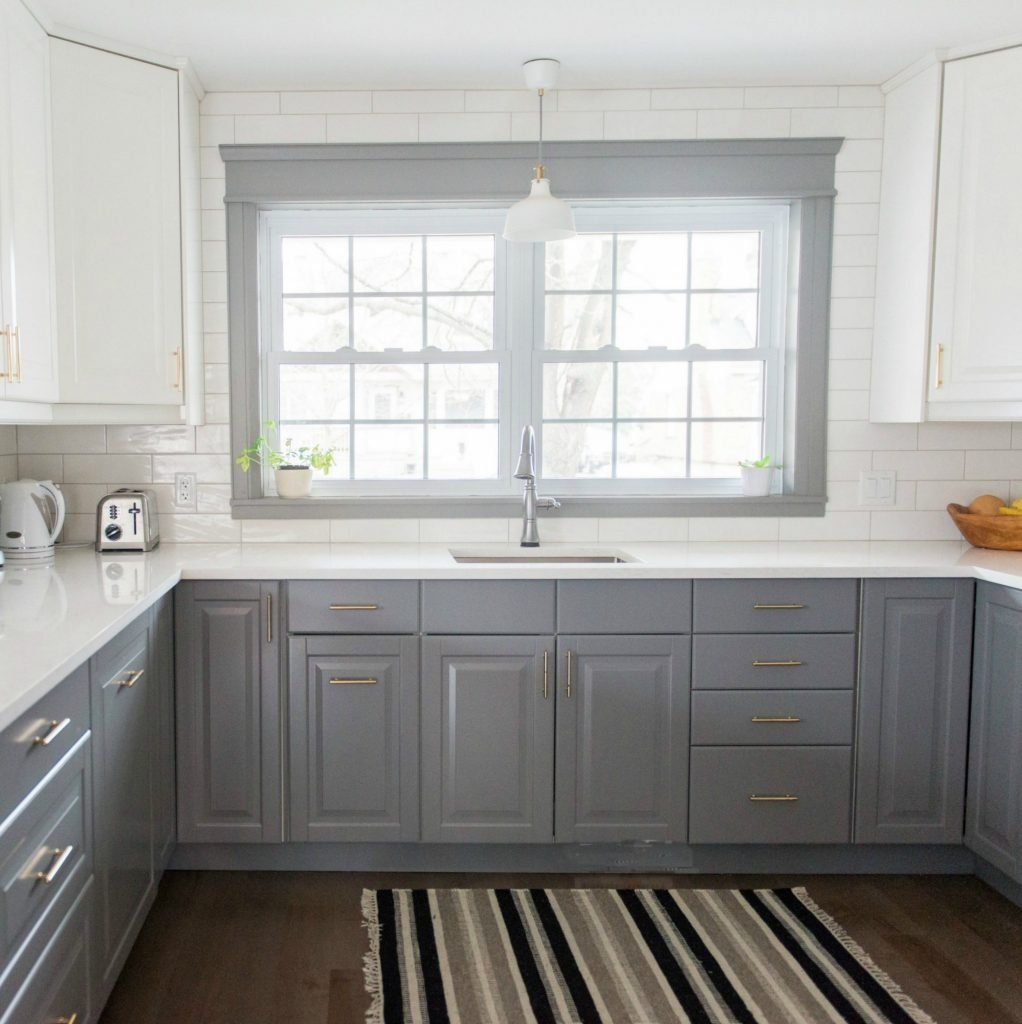 Gray White Ikea Kitchen Transformation Timeless White Quartz Countertops