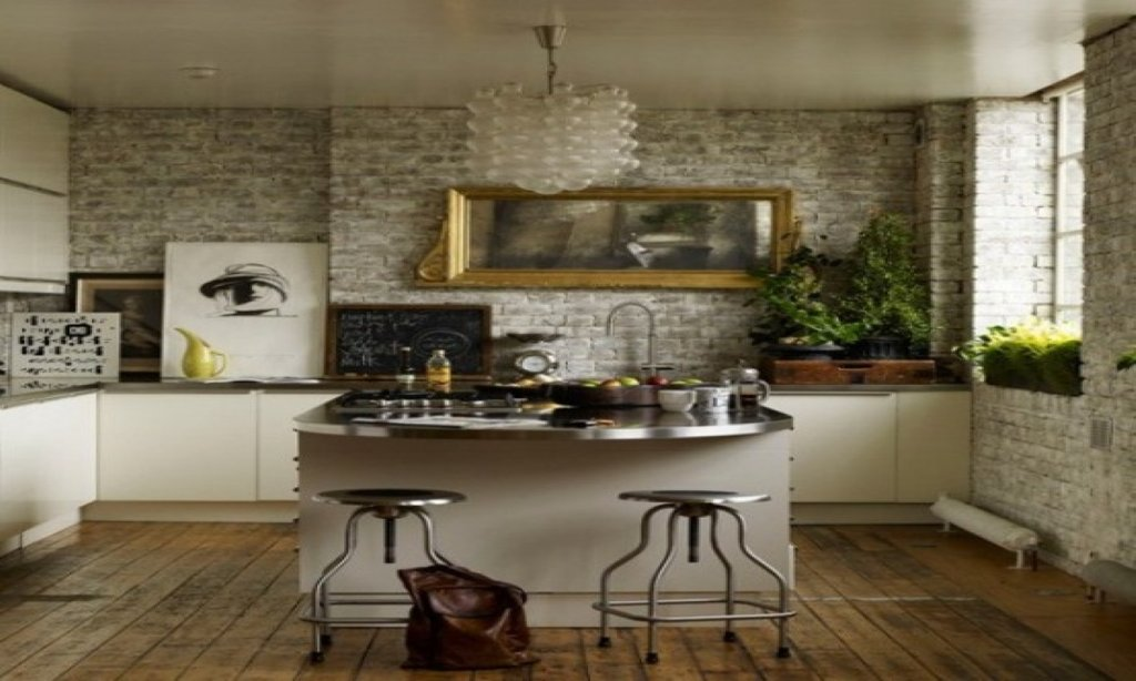 Green Countertop White Cupboards Brick Wall Kitchen Islands With Stools Ideas
