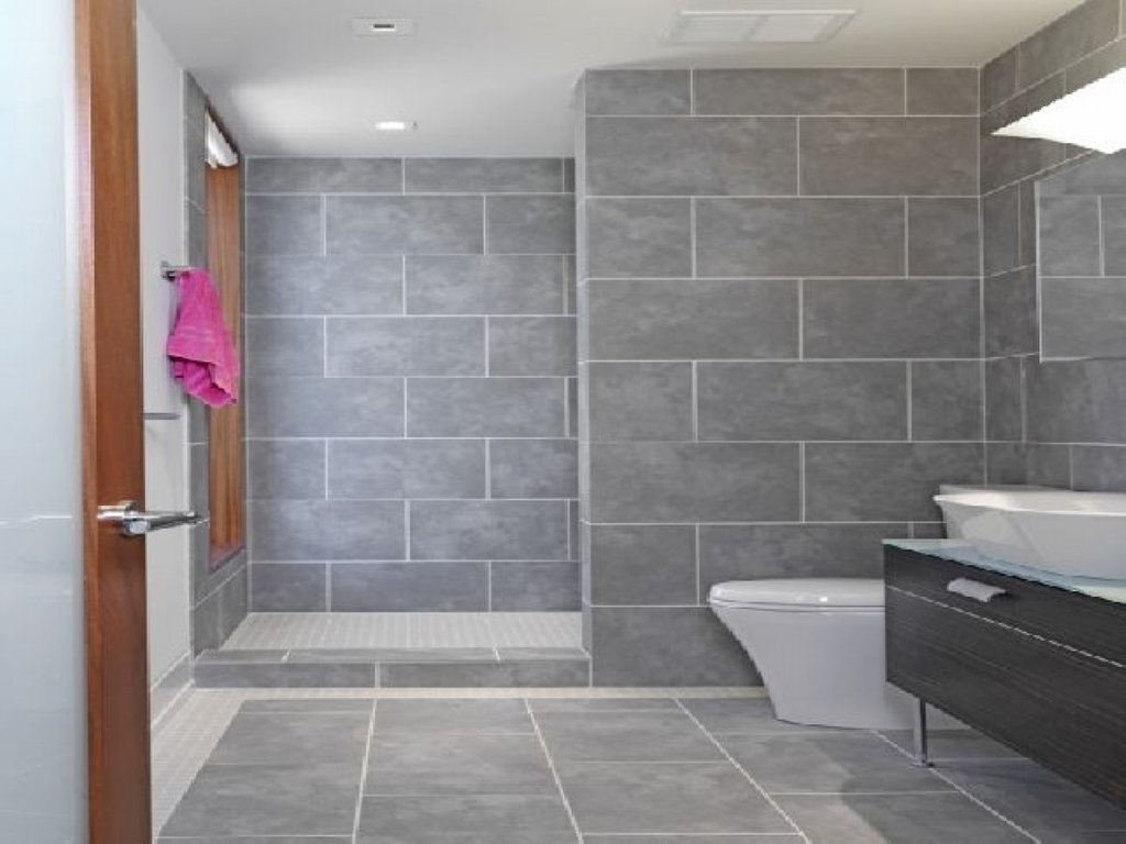 Grey Bathroom Tile Design Idea Installation Of Pebble Tile