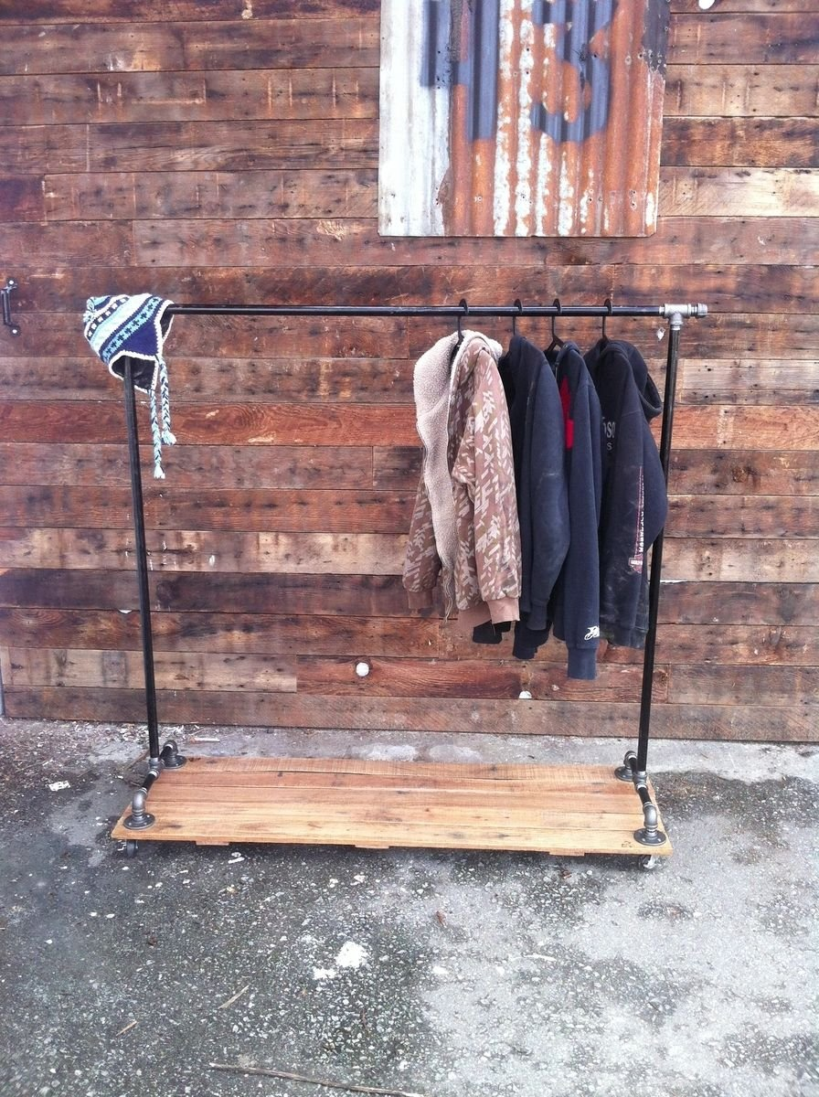 Hand Crafted Industrial Cast Iron Pipe Clothing Rack Ideas For Wooden Clothes Rack