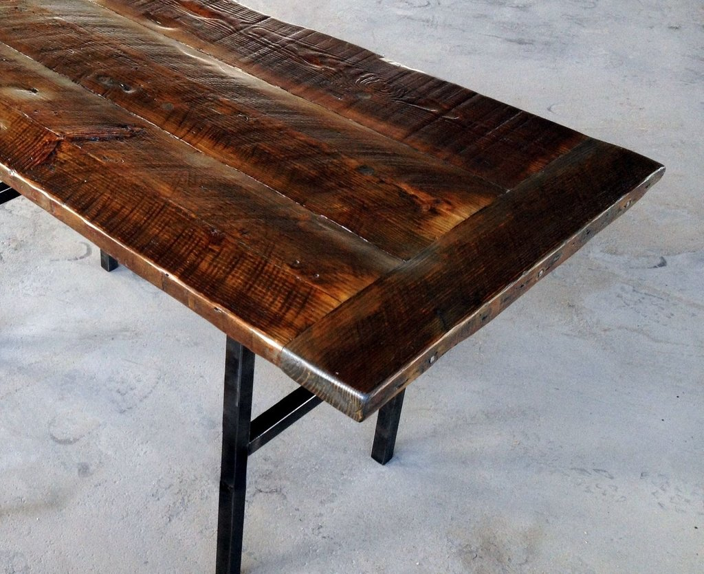 Hand Crafted Reclaimed Wood Kitchen Table Steel Leg How To Build Round Wood Table Tops