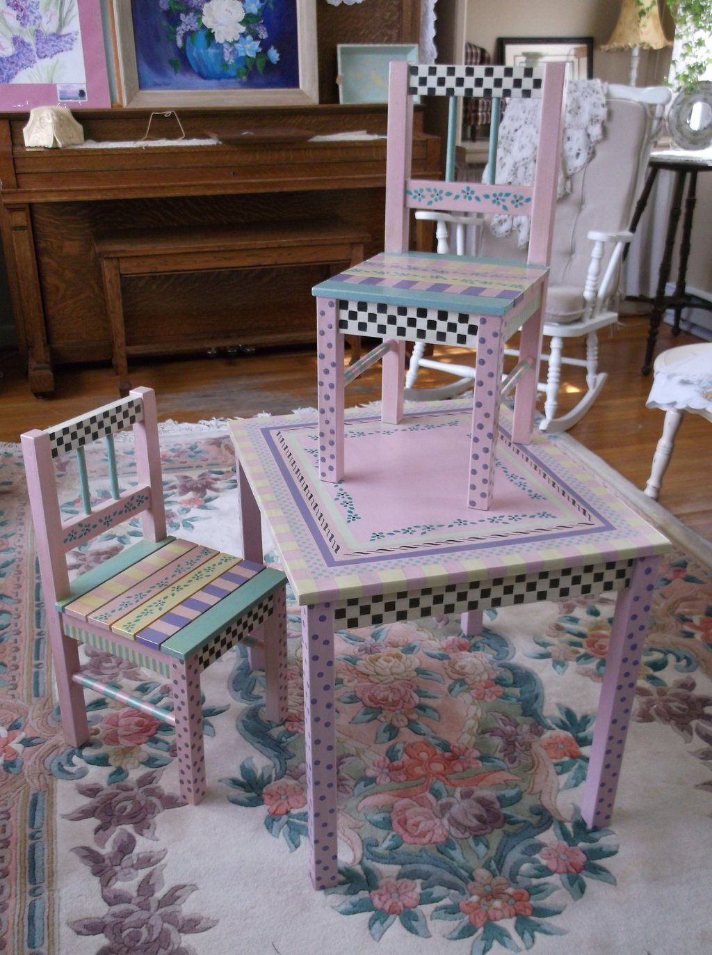 Hand Painted Children 39 Table Chairs Perfect Kids Modern Bedroom Furniture