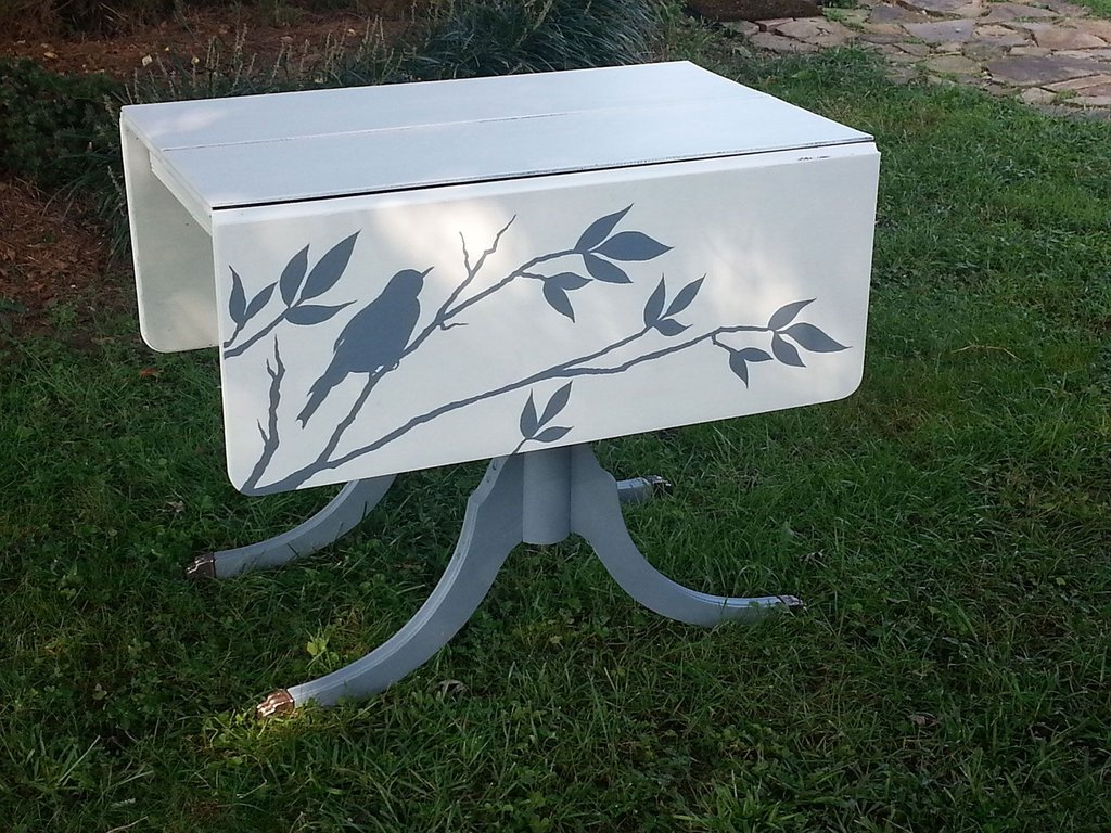 Hand Painted Drop Leaf Table Repurposed Making An Drop Leaf Kitchen Table