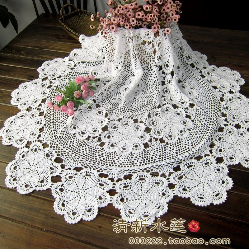 Handmade Hook Needle Crochet Dining Table Cloth 100 Tablecloths For 72 Inch Round Dining Table