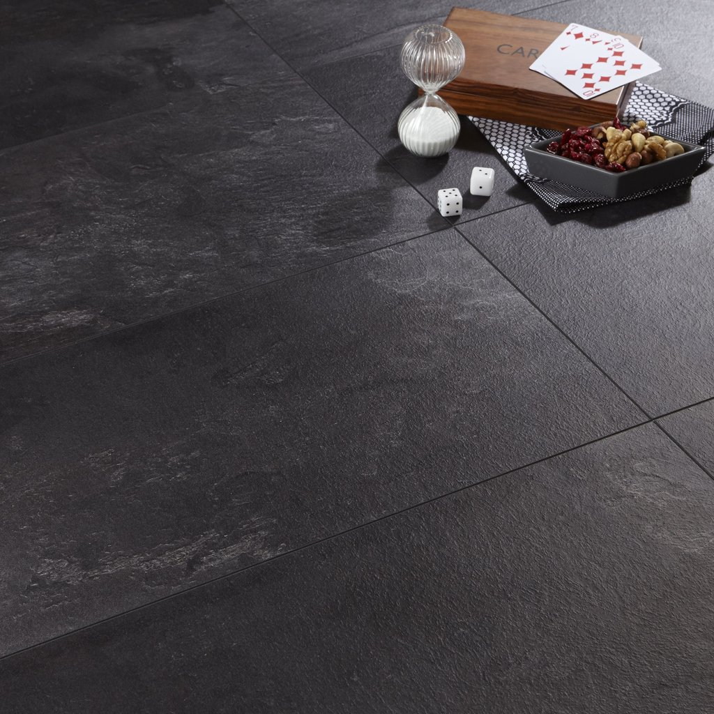 Harmonium Black Slate Effect Laminate Flooring 2 05 2 Pack Tile Effect Laminate Flooring For Bathrooms