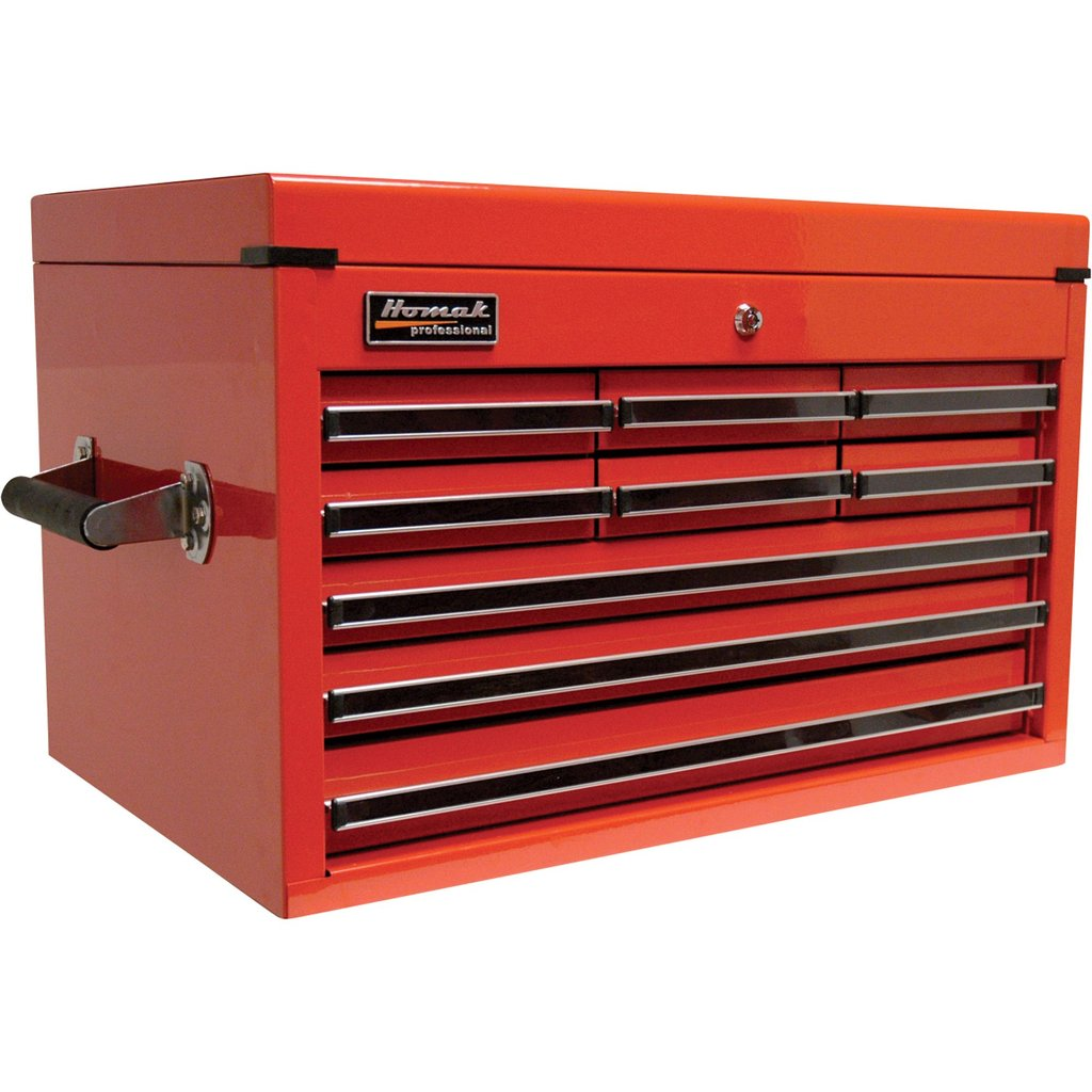 Homak Pro Series 27in 9 Drawer Extended Top Tool Chest Design Rolling Tool Cabinet