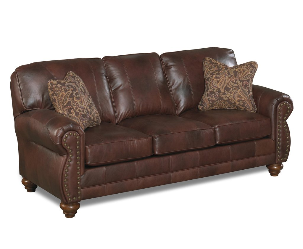 Home Furnishing Noble S64lu Stationary Leather Sofa Nailhead Sofa