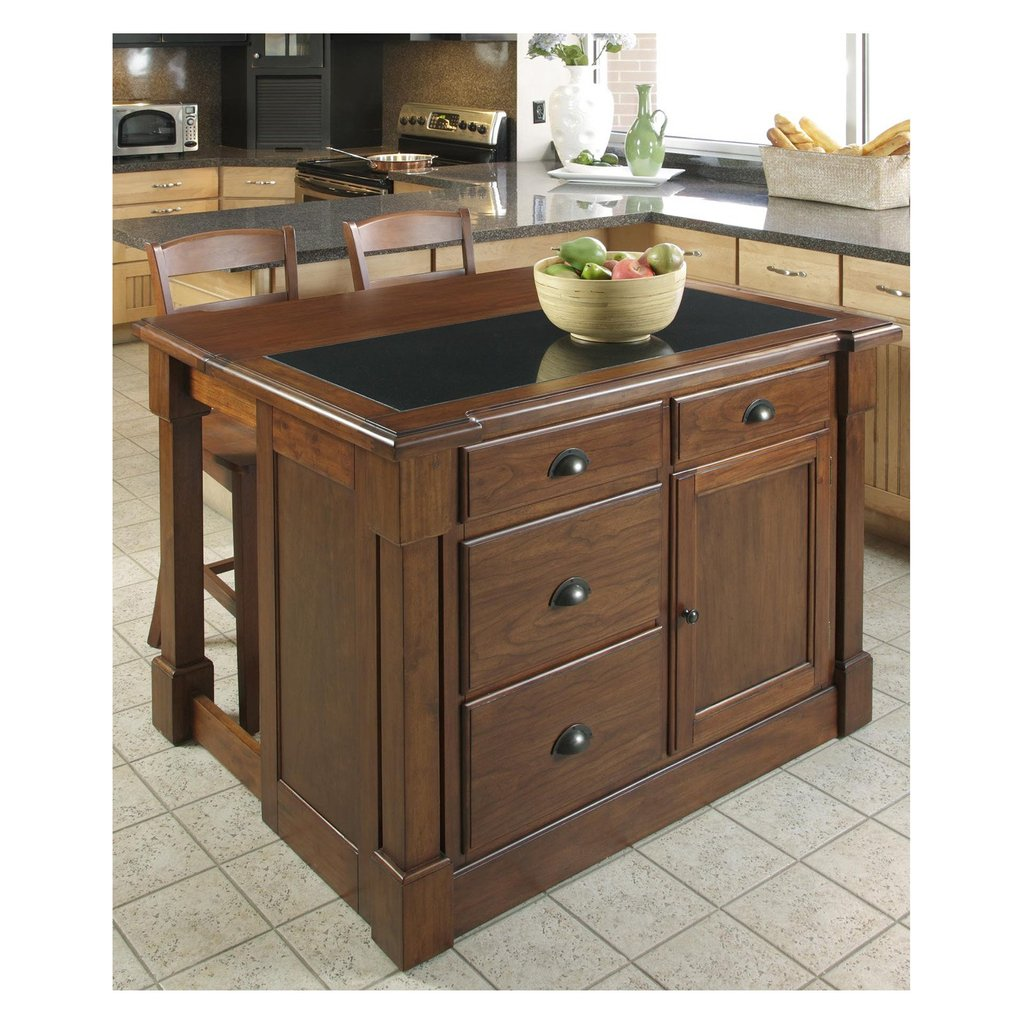 Home Style Aspen Granite Top Kitchen Island Kitchen Islands With Stools Ideas