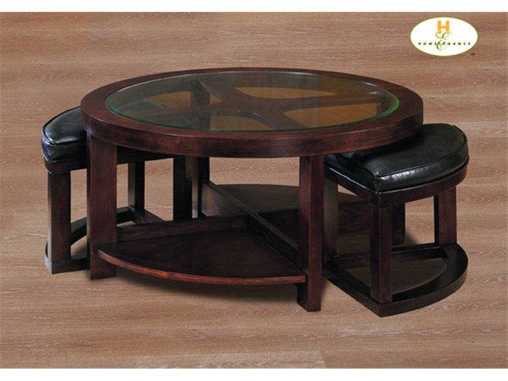 Homelegance Living Room Cocktail Table Withottoman Pu How To Make Round Ottoman Coffee Table