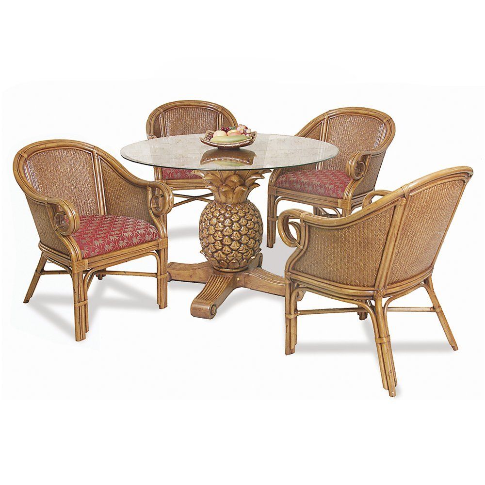 Hospitality Rattan Sunset Reef Indoor 5 Piece Rattan How To Repair Rattan Dining Chairs