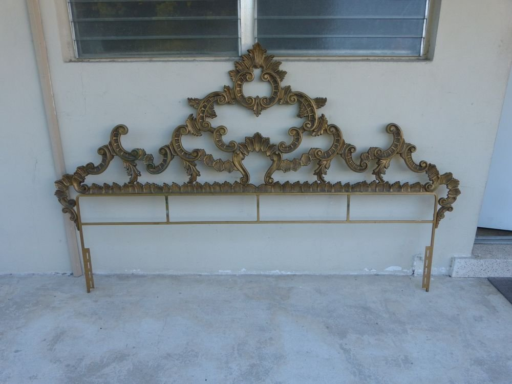 Imposing Mid Century Polychromed Rococo Metal King Size   Bed Frame With Headboard