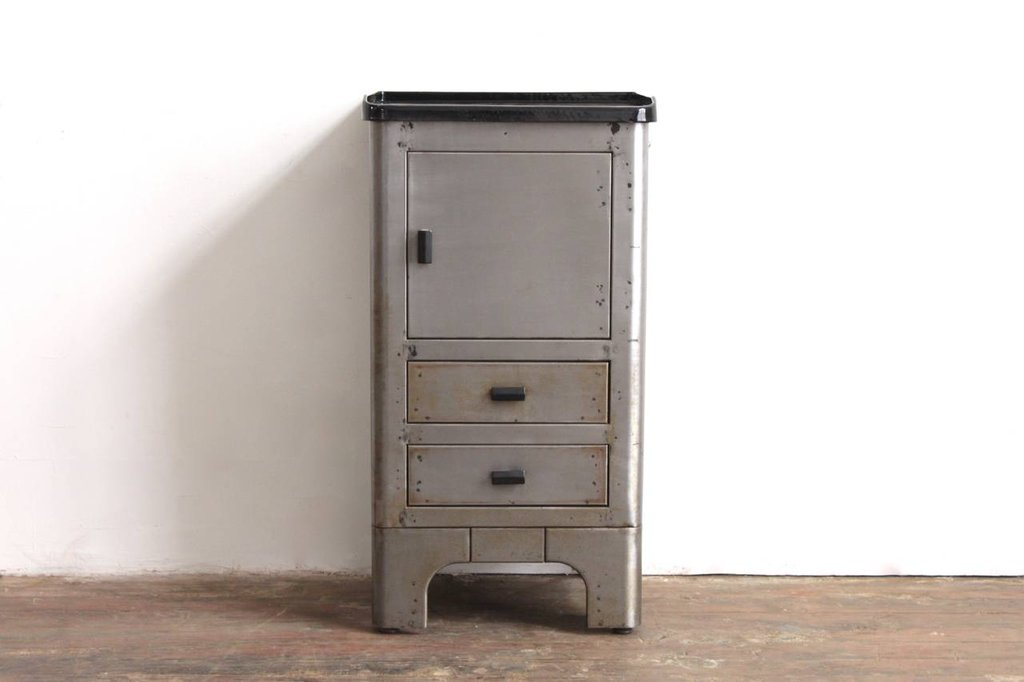 Industrial Metal Enamel Top Nightstand 1stdib How To Paint A Bronze Metal Nightstand