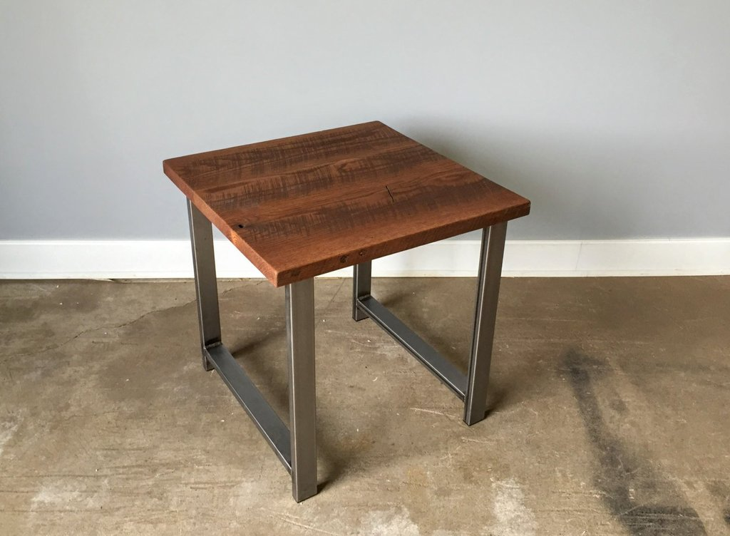 Industrial Reclaimed Wood Side Table Table Steel Wwmake How To Reclaimed Wood Side Table