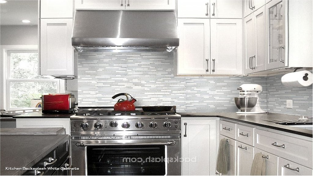 Interesting Backsplash Idea White Cabinet Black Galaxy Granite Tile Backsplash
