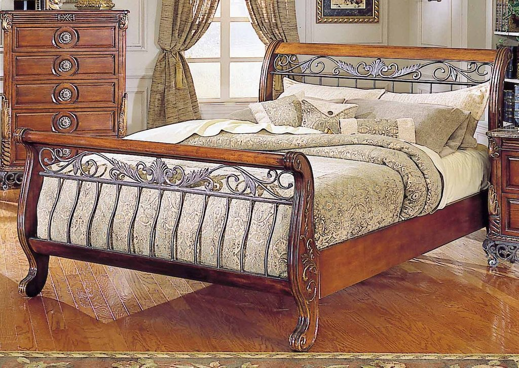 Iron Wood Sleigh Bed Frame Queen Size Decofurnish How To Build A Wood Twin Bed Frame