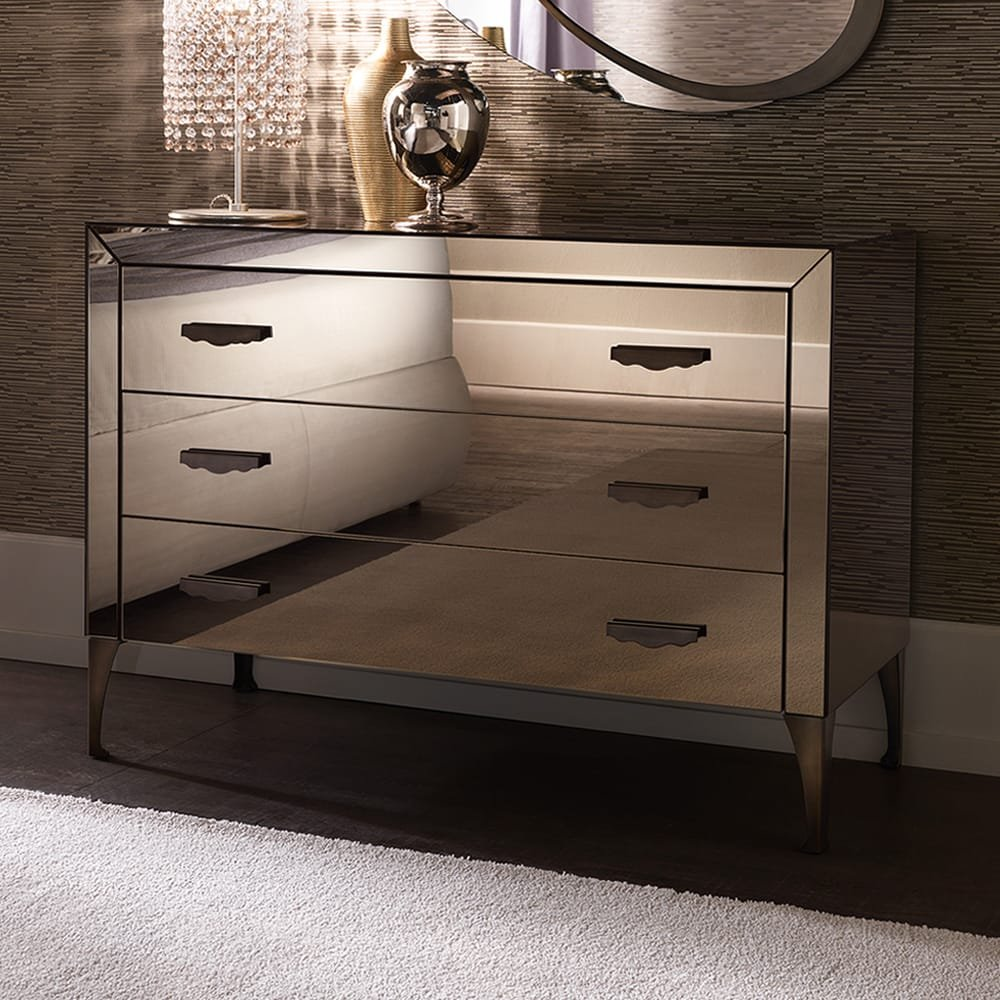 Italian Designer Bronzed Mirrored 3 Drawer Chest Create Dressing Table With Mirrored Dresser