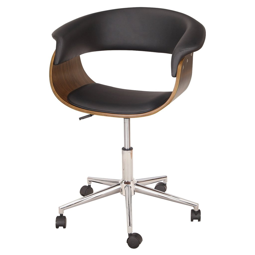 Joveco Bentwood Black Leather Adjustable Home Type Of Office Swivel Chair Design