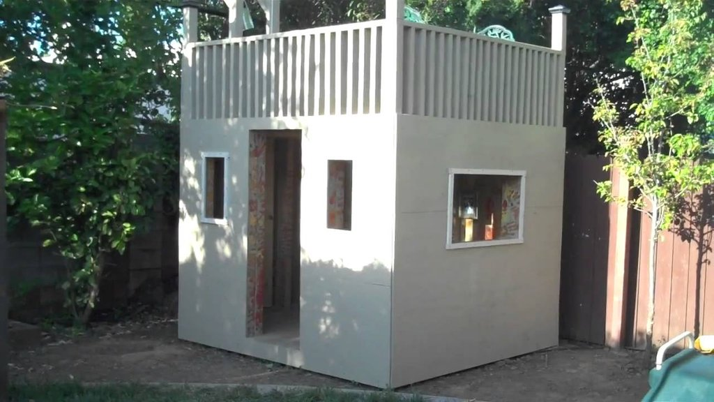Kid Club House Plan Outdoor Wooden Playhouse With Slide