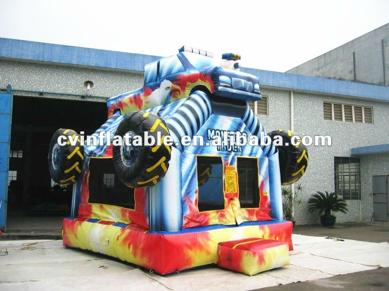 Kid Favourite Inflatable Car Truck Monster Jumping House Outdoor Wooden Playhouse With Slide