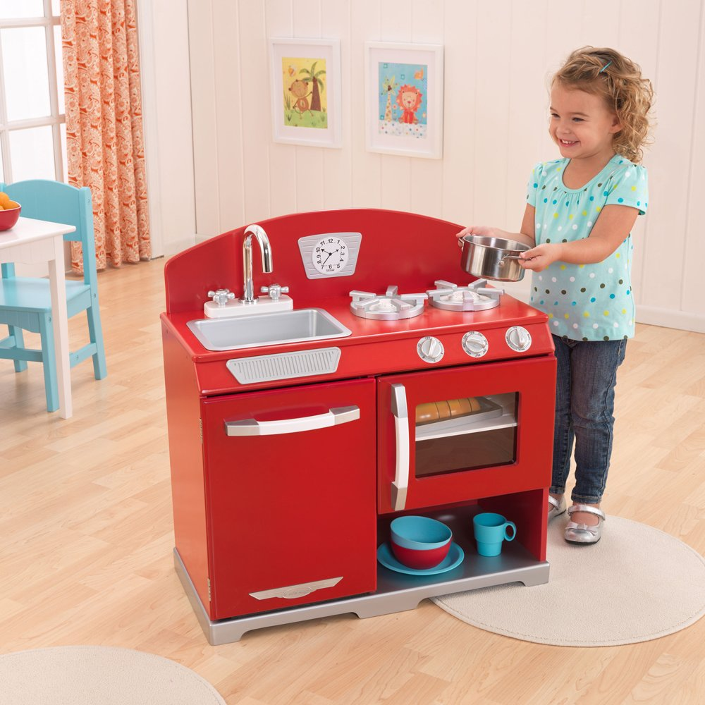 Kidkraft Red Retro Kitchen Stove Oven Kid Wooden Play Wooden Kitchen Playsets For Childhood Education