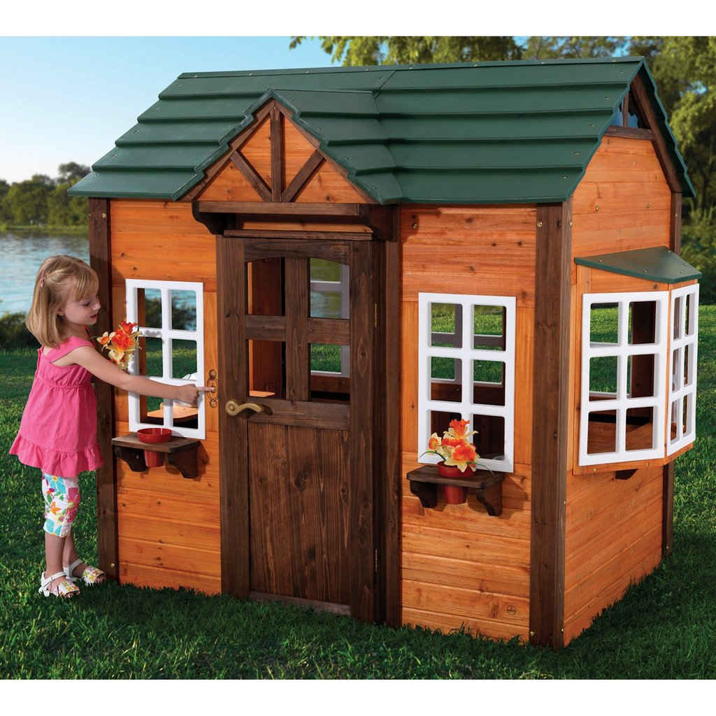 Kidkraft Woodland Playhouse 155 Outdoor Playhouse Outdoor Wooden Playhouse With Slide