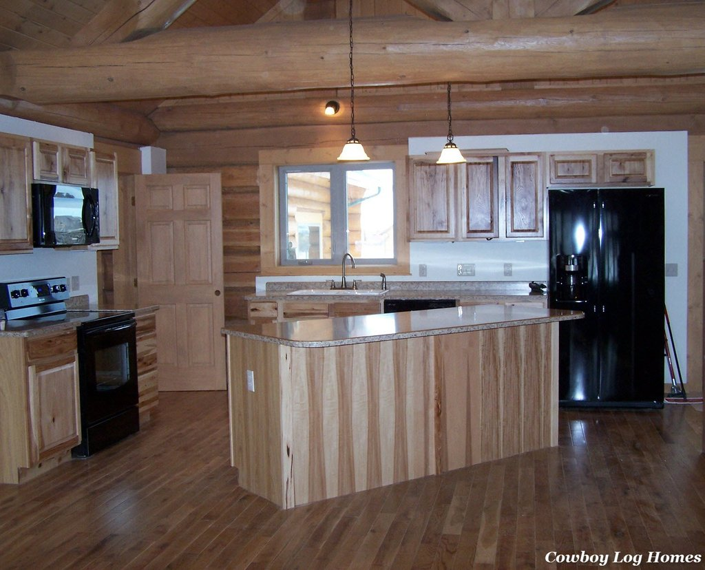 Kitchen Cabinet Counter Top Cowboy Log Home Installing Hickory Kitchen Cabinets