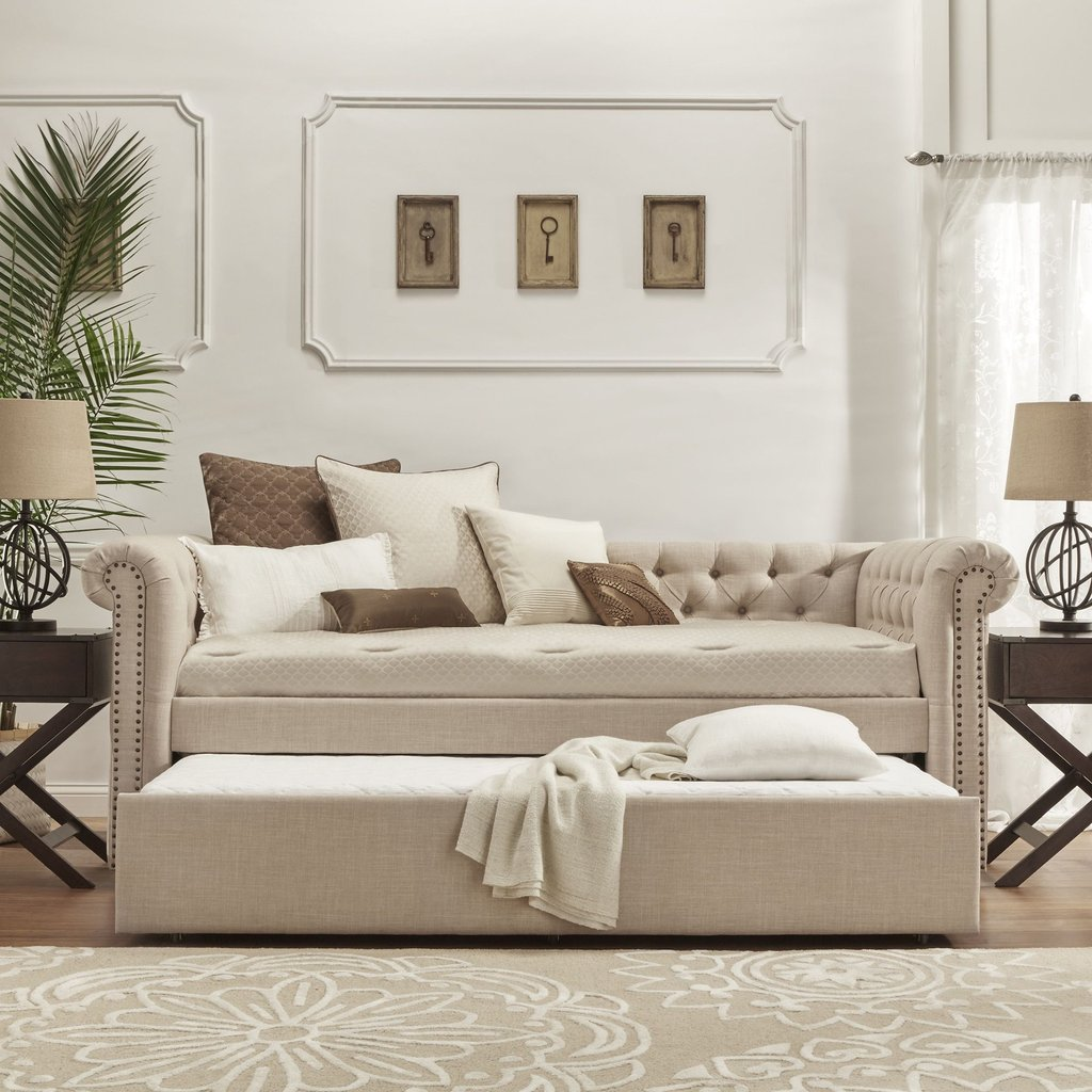 Knightsbridge Tufted Scroll Arm Chesterfield Daybed How To Assemble A Futon Sofa Bed