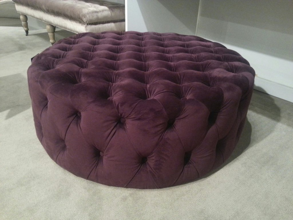 Large Charcoal Velvet Ottoman Purple Velvet How To Make Round Ottoman Coffee Table