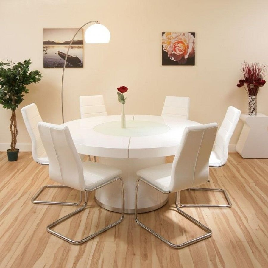 Large Dining Set White Gloss Table 6 White The Round Marble Dining Table