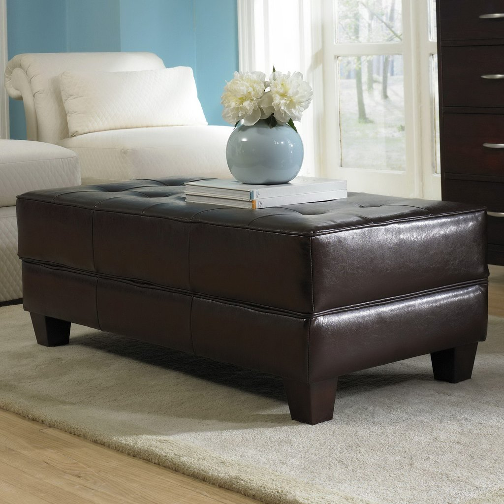 Large Storage Ottoman Leather Home Design Idea Square Leather Ottoman Coffee Table