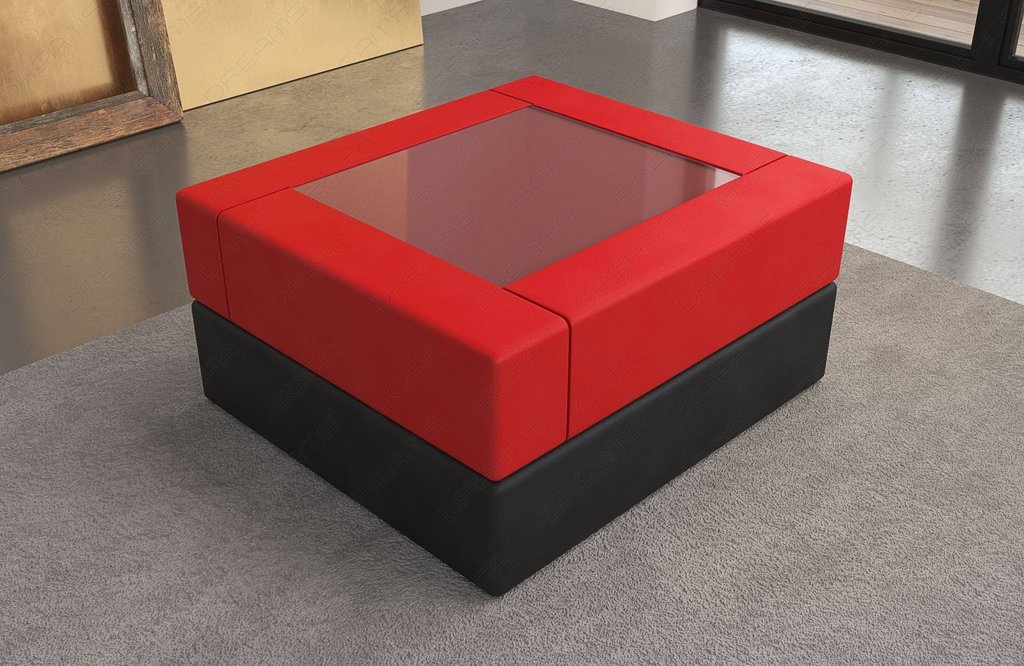 Leather Coffee Table Red Black Square Leather Ottoman Coffee Table