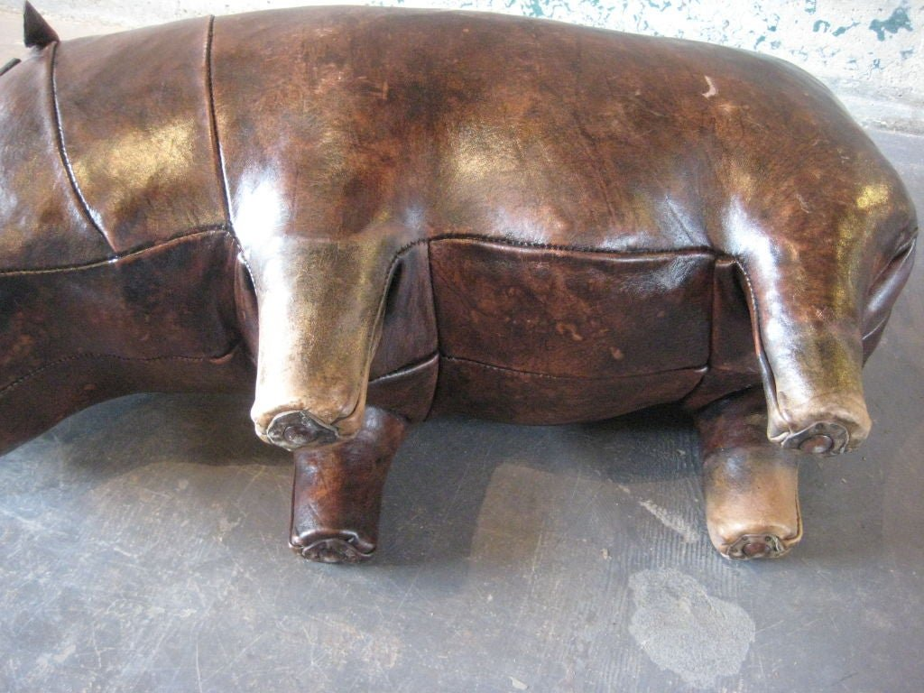 Leather Hippo Ottoman Abercrombie 1stdib Square Leather Ottoman Coffee Table