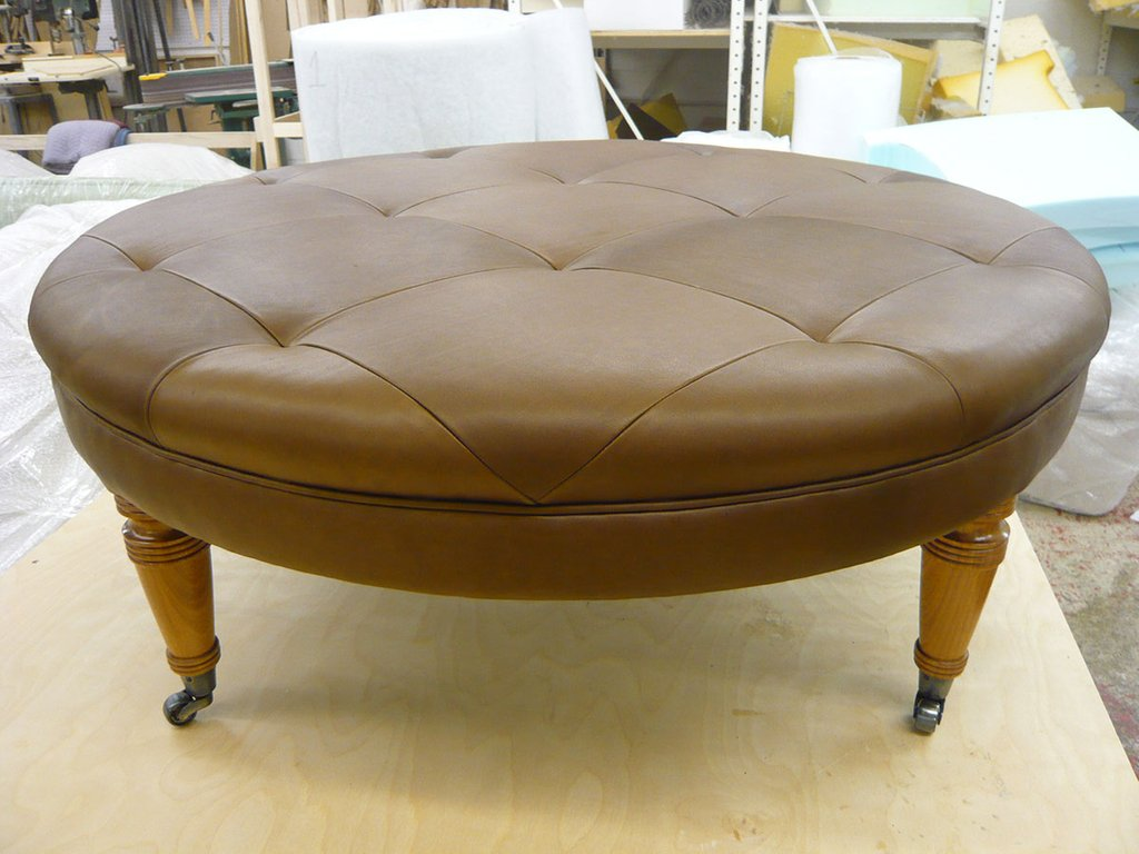 Leather Ottoman Cut Stitched Pattern How To Make Round Ottoman Coffee Table