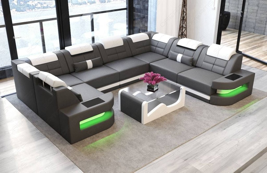 Leather Sectional Sofa Denver Shape Led Grey White Square Leather Ottoman Coffee Table