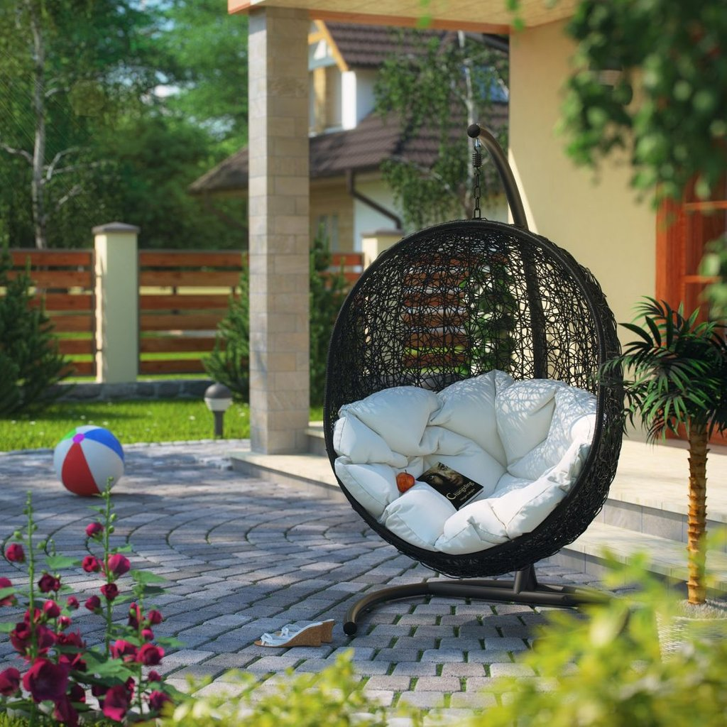 Lexmod Cocoon Wicker Rattan Outdoor Patio Porch Swing Wooden Porch Swings With Frame