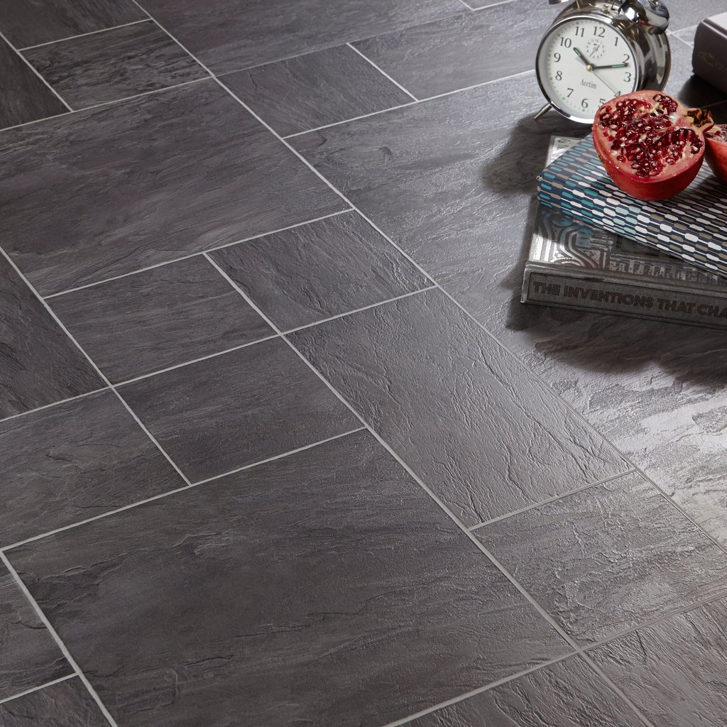 Libretto Black Slate Tile Effect Laminate Flooring 1 86 2 Tile Effect Laminate Flooring For Bathrooms