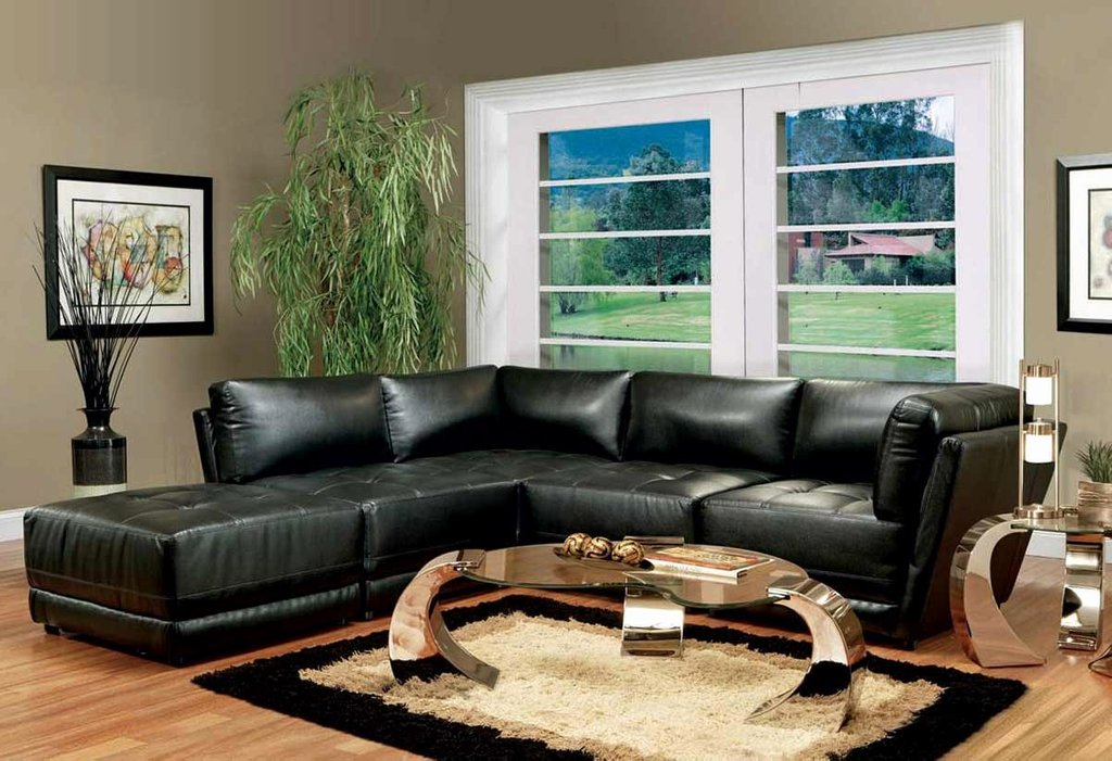 Living Room Decor Black Leather Sectional Chaise Sofa Decorating Burgundy Leather Sofa