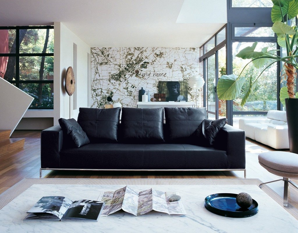 Living Room Decorating Idea Black Leather Furniture Decorating Burgundy Leather Sofa