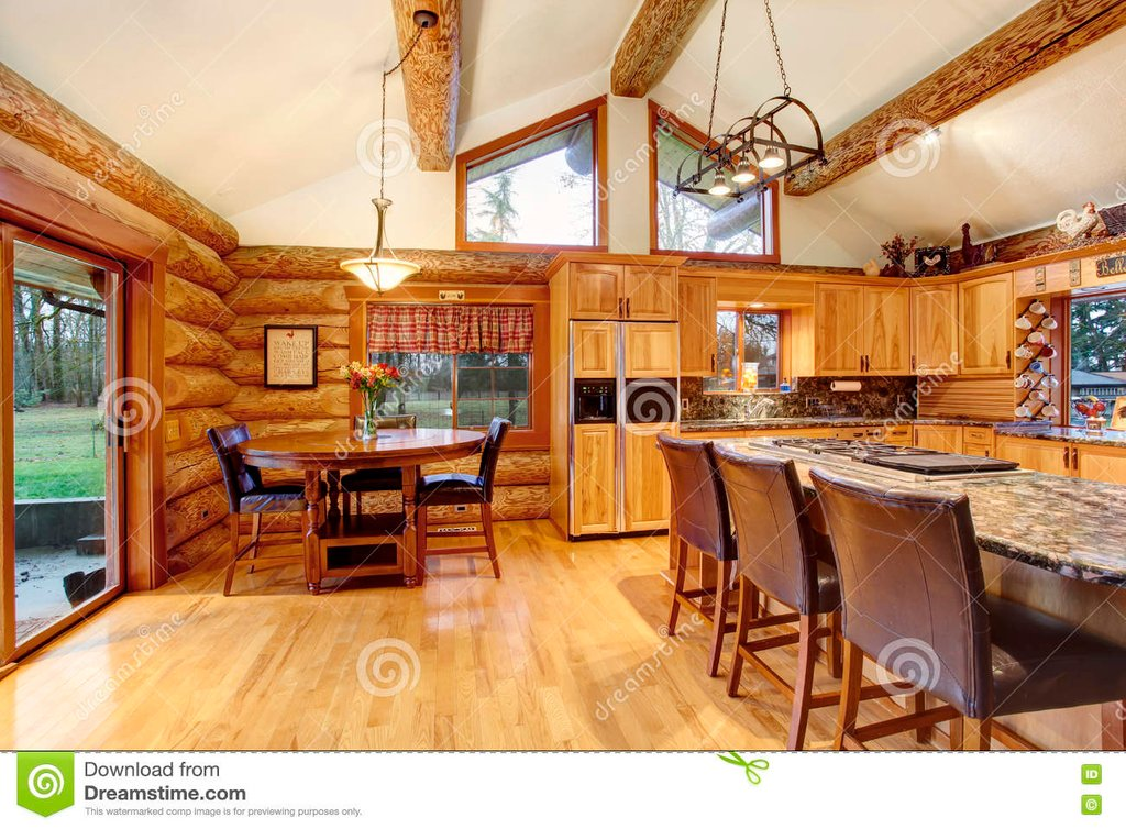 Log Cabin House Interior Dining Kitchen Room Stock Color Design For House Interior Dining Room