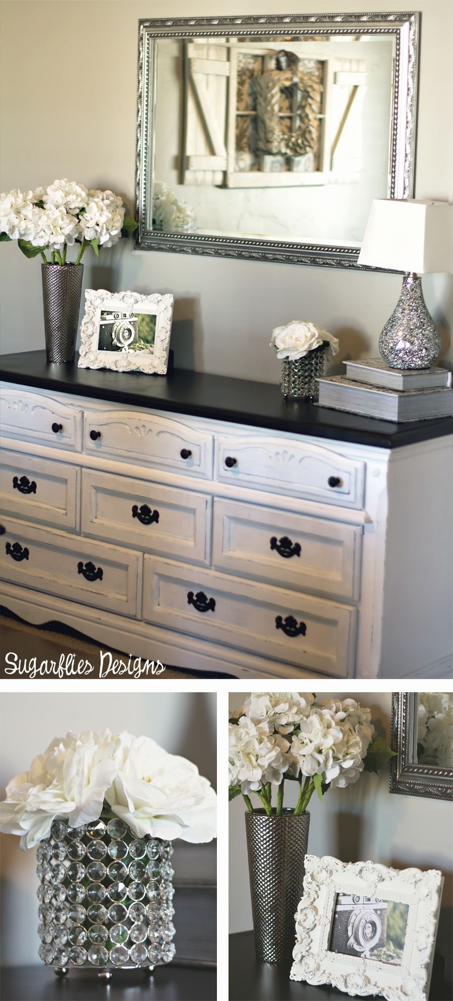 Love Color Silver Detailed Mirror Make A Dresser Look Distressed Dresser