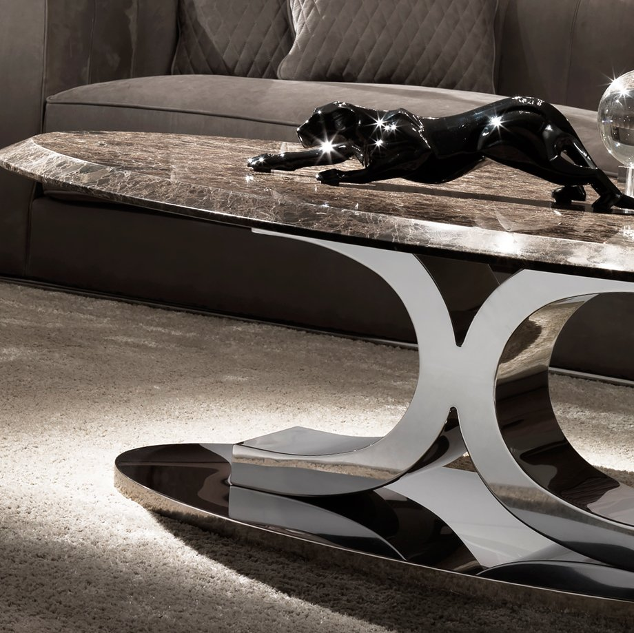 Luxury Contemporary Italian Oval Marble Coffee Table How To Refinish Marble Table Tops