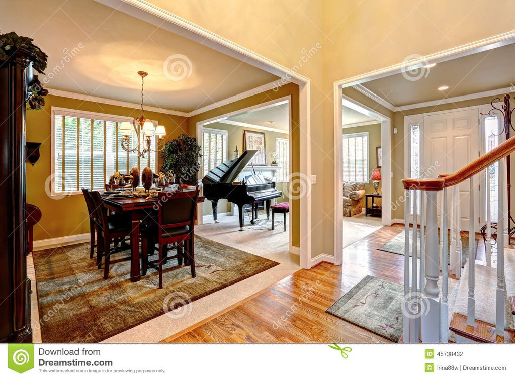 Luxury House Interior Open Floor Plan Stock Photo Color Design For House Interior Dining Room