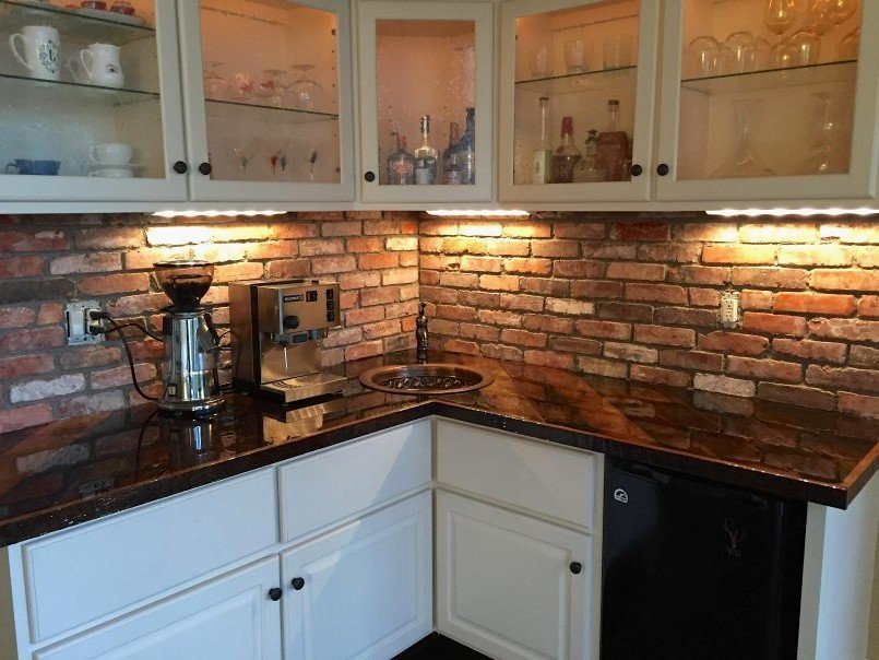 Luxury Red Brick Kitchen Wall Tile Gl Kitchen Design Faux Brick Flooring Finish