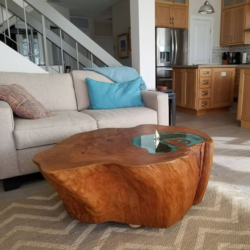 Man Build Lake Coffee Table 400 Year Tree Trunk Make A Tree Trunk Coffee Table